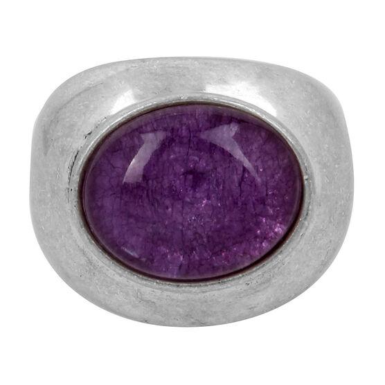 Kenneth Cole Round Amethyst Stone Ring - Amethyst/Silver
