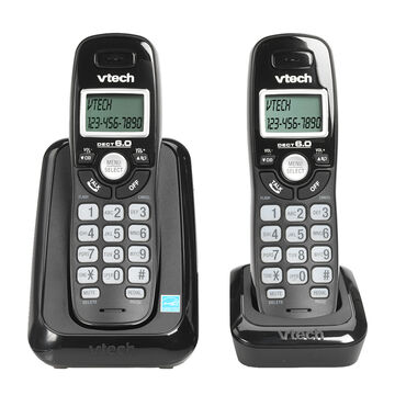 VTech DECT 6.0 Cordless Phone with Caller ID - 2 Handsets - Black - CS611421