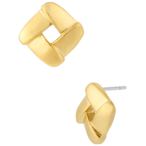 Kenneth Cole Shiny Square Earrings - Gold Tone