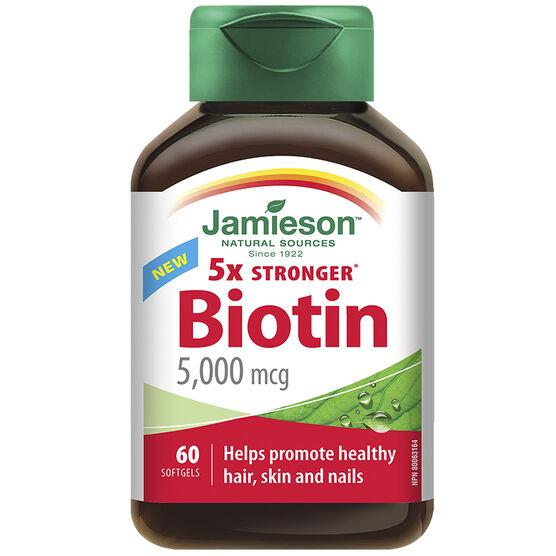 Jamieson 5X Stronger Biotin 5X Stronger - 5000mcg - 60's