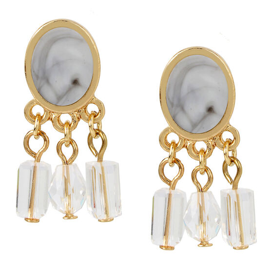 Haskell Stone Crystal Earrings - Grey/Gold