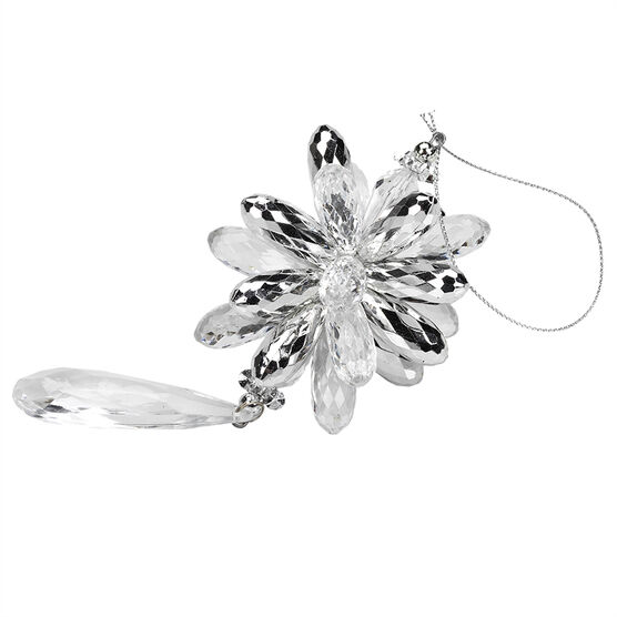 Winter Wishes Blue Ice Teardrop Ornament - 5.5 inch - Clear