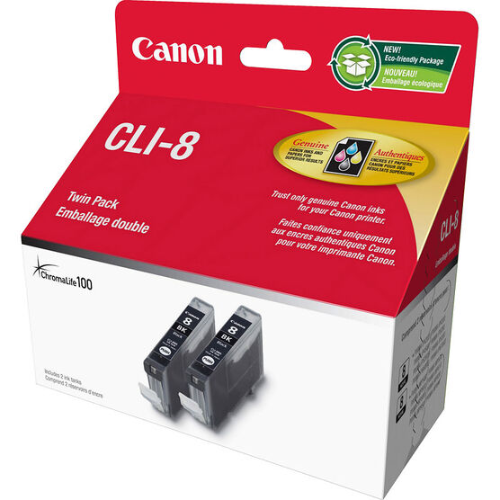Canon CLI-8 Twin Pack Ink Cartridge - Black - 0620B014