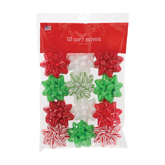 Christmas Cool Yule Petite Bows - 12 pieces