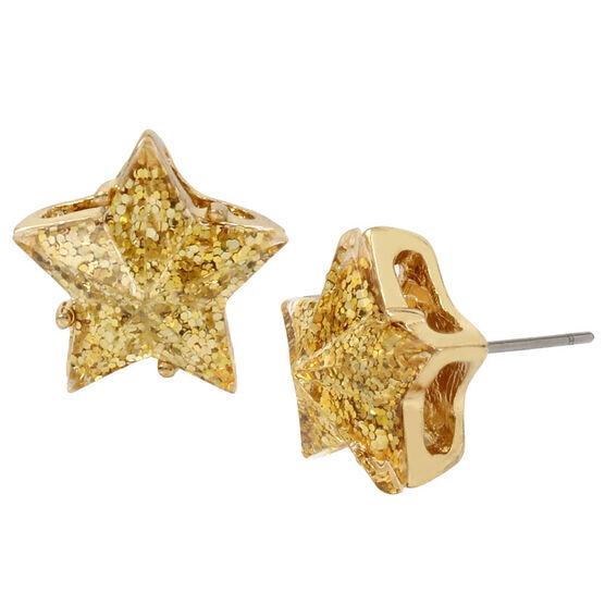 Betsey Johnson Confetti Star Glitter Stud Earrings - Gold