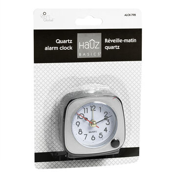 HRS Global Table Alarm Clock - Black & Silver - ALCK798