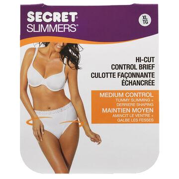 Secret Slimmers Control Top Hi-Cut Panty - Natural - Large