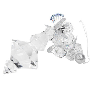 Winter Wishes Blue Ice Drop Ornament - 5.5 inch - Clear