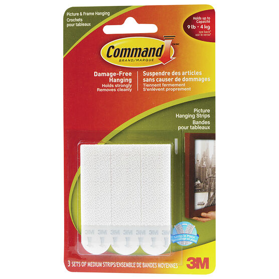 3M Command Picture Hanging Strips - Medium - 3's