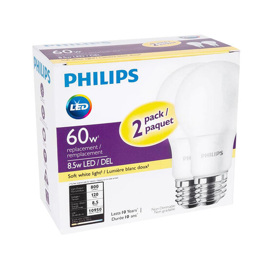 Philips A19 LED Light Bulb - Soft White - 8.5w/60W