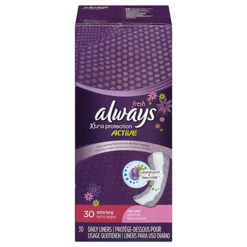 Always Xtra Protection Active Daily Liners - Extra Long - Fresh Scent - 30's