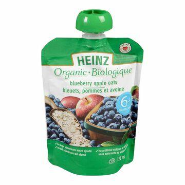 Heinz Organic Baby Food Pouch - Blueberry/Apple/Oats - 128ml