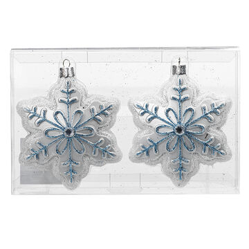 Winter Wishes Blue Ice Snowflake Ornaments - 2 pack