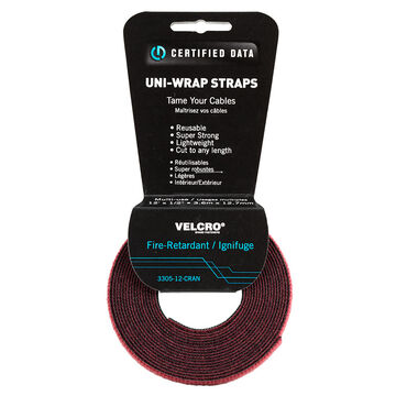 Certified Data 1/2-inch Velcro Wrap - 12 feet - Cranberry