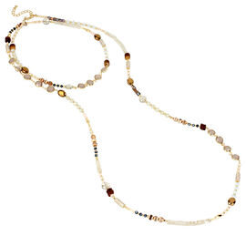 Haskell Spaced Beaded Necklace - Neutral/Gold