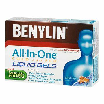 Benylin All-in-One Cold & Flu Liquid Gels - 20's