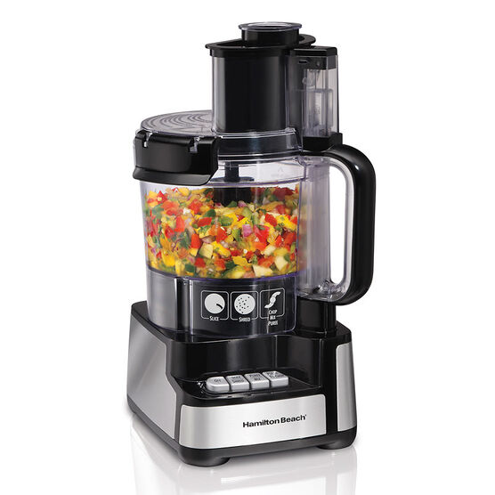 Hamilton Beach Stack & Snap Food Processor - 12 Cup - Black/Silver - 70725C