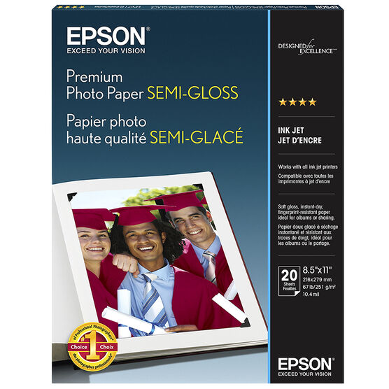 Epson Premium Photo Paper Semi-Gloss  - 8.5 x 11inch - 20 Sheets - S041331