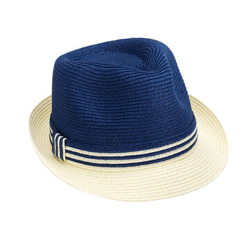 Bellezza Fedora Hat - Navy and Cream