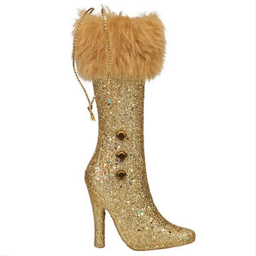 Winter Wishes Elegance Boot Ornament - 3.5 inch - Gold