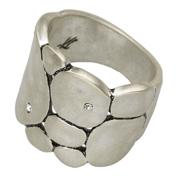 Kenneth Cole Hammered Circles Ring - Silver Tone