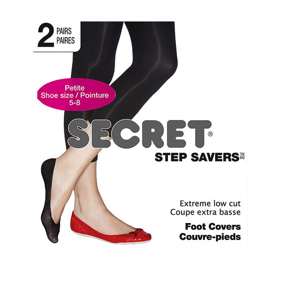 Secret Foot Cover Petite Low Cut - Black - 2 pair