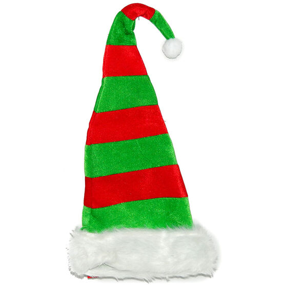 Christmas Forever Striped Santa Hat with Wire - Red/Green - XM-UH2396