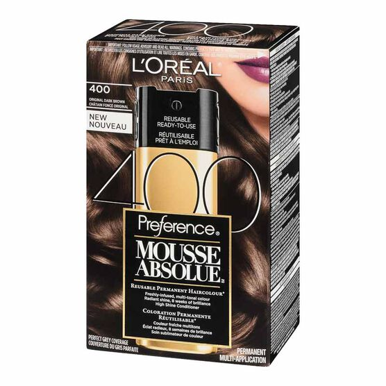 L'Oreal Preference Mousse Absolue Reusable Permanent Haircolour - 400 Original Dark Brown