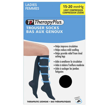 Therapy Plus Light Compression Trouser Socks - Black - Large
