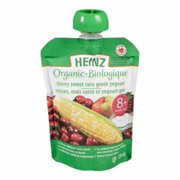 Heinz Organic Baby Food Pouch - Cherry/Sweetcorn/Greek Yogourt - 128ml