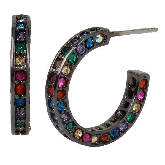 Betsey Johnson Confetti Pave Hoop Earrings - Multi
