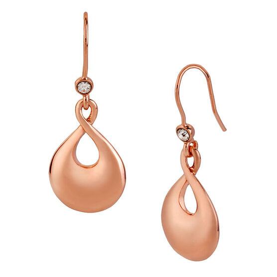 Kenneth Cole Twist Drop Earrings - Rose Gold Tone