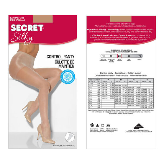Secret Silky Control Top Sandal Foot - C - Nude
