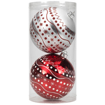Winter Wishes Candy Cane Lane Dot Ball Ornaments - 2 pack