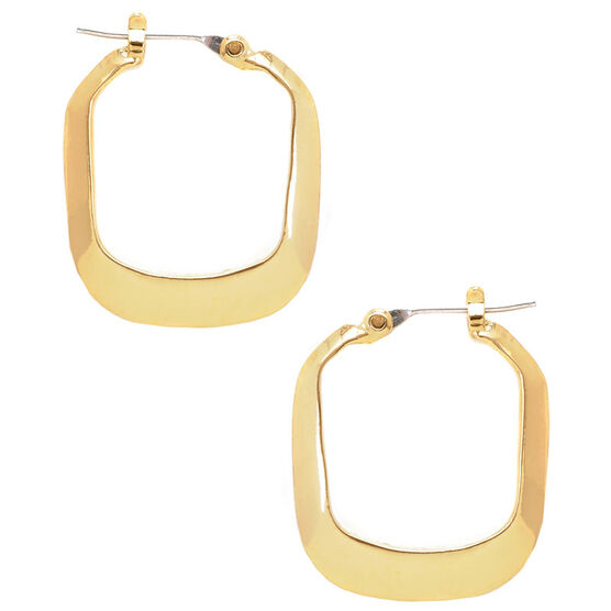 Kenneth Cole Small Rectangle Shiny Hoop Earrings - Gold Tone