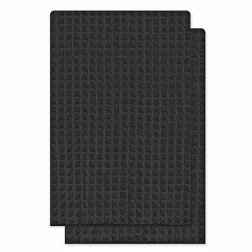 Kitchenworks Waffle Tea Towel - Black - 2 pack