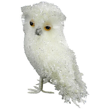 Christmas Forever Standing Owl - 10 inch - White Ice