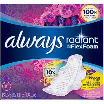 Always Radiant Pads - Regular - 15's