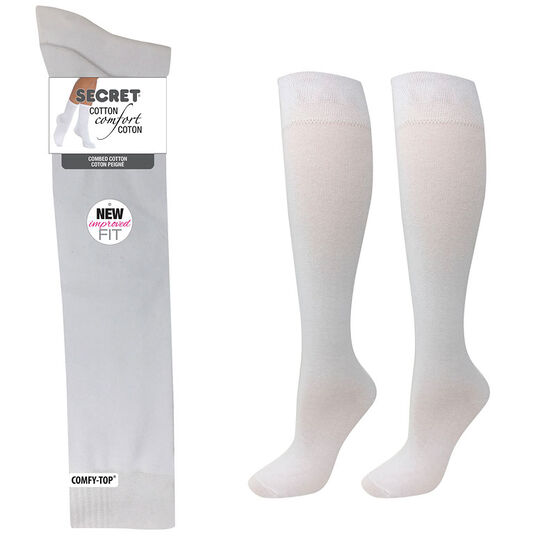 Secret Cotton Comfort Fashion Socks Knee High - White - 2 pair