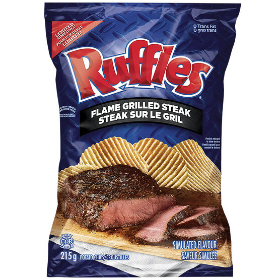 Ruffles Potato Chips - Flame Grilled Steak - 215g