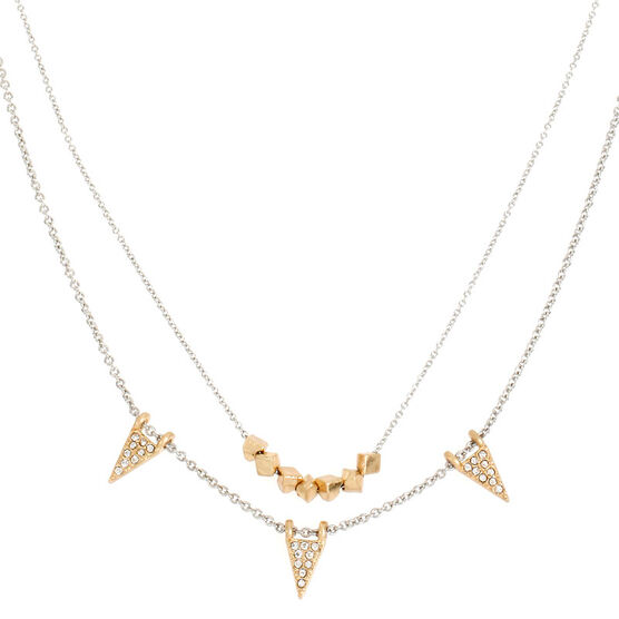 Kenneth Cole Triangle Multi-Row Necklace - Crystal/Gold Plated