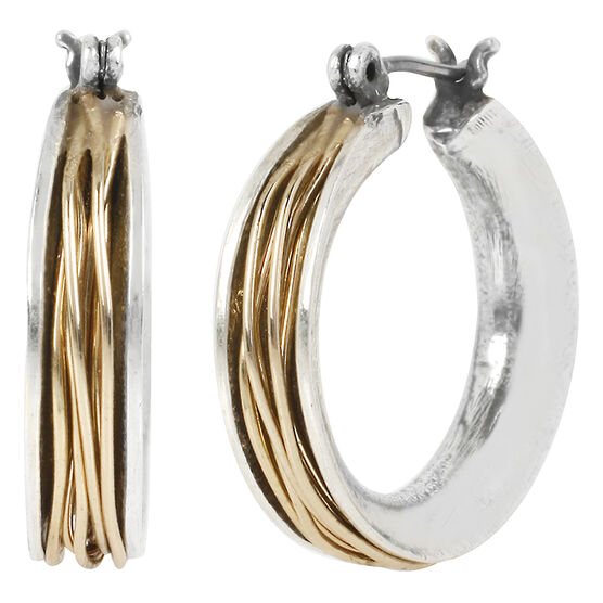 Robert Lee Morris Two Toned Wire Wrapped Hoop Earrings - Small