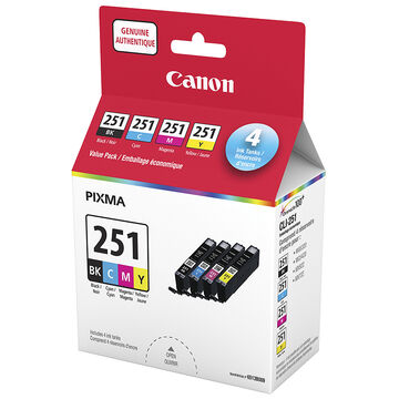 Canon CLI-251 CMYK Value Pack Ink Cartridges - Black/Cyan/Magenta/Yellow - 6513B009