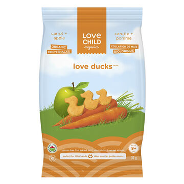 Love Child Love Ducks Organic Corn Snacks - Carrot + Apple - 30g