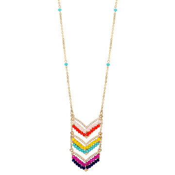 Haskell V-shaped Bead Pendant Necklace - Multi