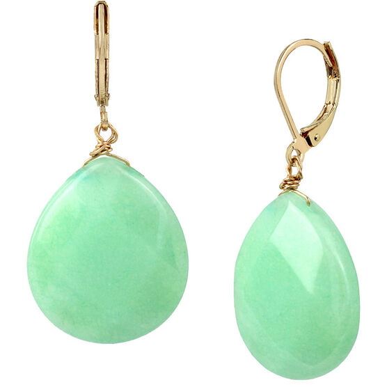 Haskell Stone Drop Earrings - Mint/Gold