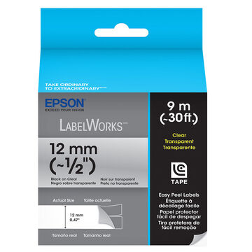 "Epson Black on Clear Easy Peel Label 1/2"" - 12mm x 9m"