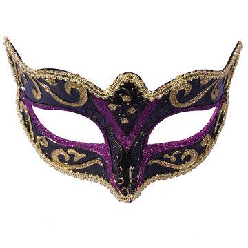 Halloween Masquerade Half Mask - Black/Purple