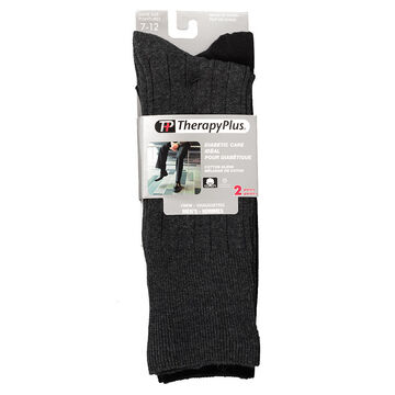 TherapyPlus Men's Diabetic Dress Crew Socks - Black - Shoe Size 7-12 - 2 pairs