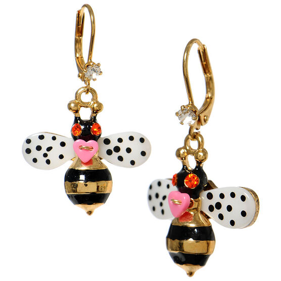 Betsey Johnson Bumblebee Drop Earrings - Black & White